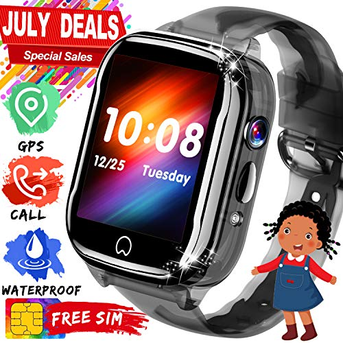 Kids Smart Watch GPS Tracker - [Free SIM Card]2019 New Waterproof Kids Smartwatch Phone for Boys Girls with HD Touch Screen SOS Anti-Lost Camera Game Toys Children Wrist Watch Bracelet Birthday Gifts (Boys Watch Black Touch Screen)