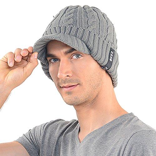 Mens Waterproof Cable Knit Winter Beanie Visor Hat Oversized (Chunky Visor)