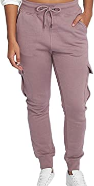 Puimentiua Women's Cargo Joggers Pants Ultra Soft Cotton Solid Sweatpants Lounge Pants with Pockets