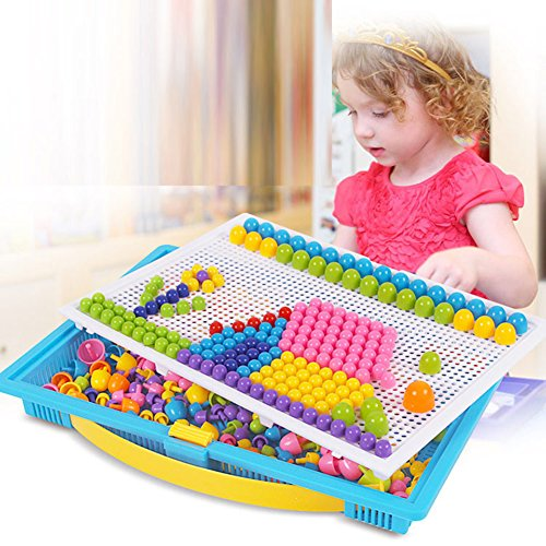 Biowow 592 Pcs Creative Mosaic Pegboard Jigsaw Puzzle Mushroom Nails Peg Puzzles Educational Learning Toys for Kids by Biowow