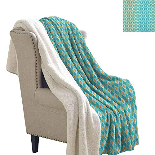 (Ikat Winter Quilt Soft Oval Shapes Pattern with African Civilizations Inspirations Lined Motifs Blanket for Family and Friends Turquoise Marigold W59 x)