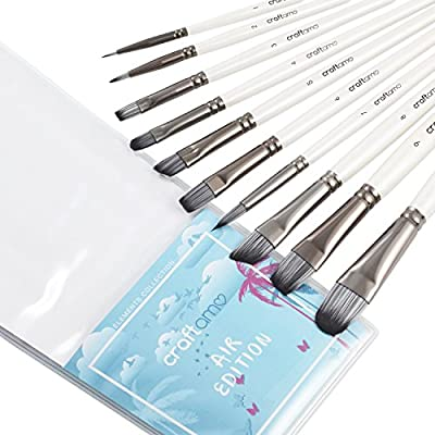 Artist Brush Set for Watercolor, Acrylics, Oil & Face Painting - 10 Professional Paint Brushes for Artists from the Craftamo Elements Collection (Air Edition)