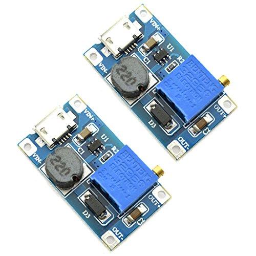 - DZS Elec 2pcs Mini DC-DC Adjustable Boost Converter Voltage Regulator 2V-24V to 5V-28V 2A Step-Up USB Input Power Module DIY 5V 9V 12V 18V 24V DC Power Supply Module