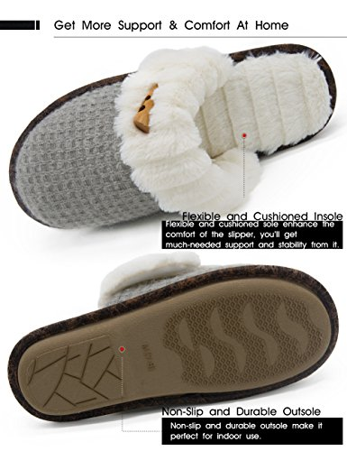 Cozy House Women's On Slippers Indoor Gray Slip Elegant Vonmay Knitted Plush Lined Fleece q64RSaw