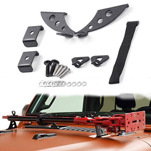 Royalo Hi Lift Jack Mount kit Hood/Door Hinge Bracket for 2007-2019 Jeep JK Only
