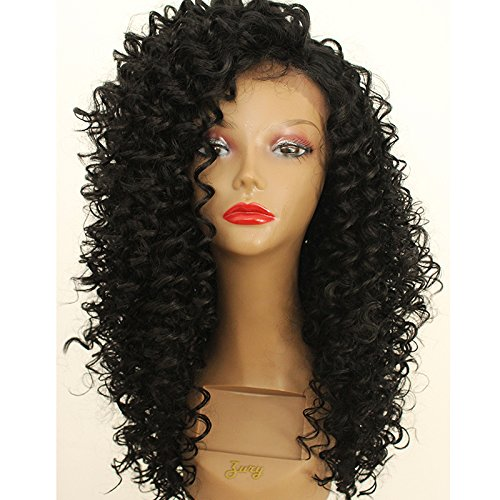 PlatinumHair black kinky curly wigs synthetic lace front kinky curly wigs heavy density - Curly Layer Synthetic Wig