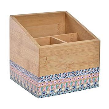 Cubertero de Bambú con Diseño Floral, 3 Compartimentos. Original/Natural 12,5X12,5X12,5 cm.-Hogarymas-: Amazon.es: Hogar