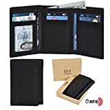 Genuine Leather Mens RFID Blocking Trifold Wallet - with 7 Credit Card+1 ID Window+2 Note Compartments.