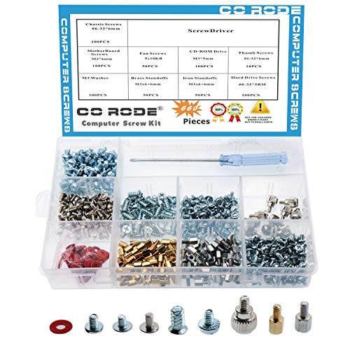 - CO RODE 660pcs Phillips Head Computer PC Spacer Main Board Standoffs Screws Assortment Kit for Hard Drive Motherboard Fan Power Graphics (Screwdriver Included)