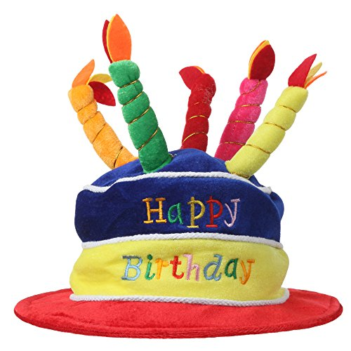 Home-X Plush Happy Birthday Cake Hat (Multi-Color) -