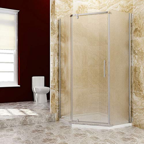 SUNNY SHOWER A33 Neo-Angle Corner Frameless Pivot Shower Doors 1/4