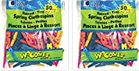 Loew-Cornell Woodsies Tiny Spring Clothespins, 1-Inch, 100 Colored