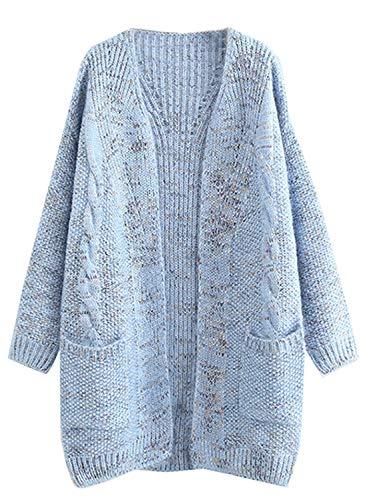 futurino Women's Cable Twist School Wear Boyfriend Pocket Open Front Cardigan Popcorn Sweaters Blue ()