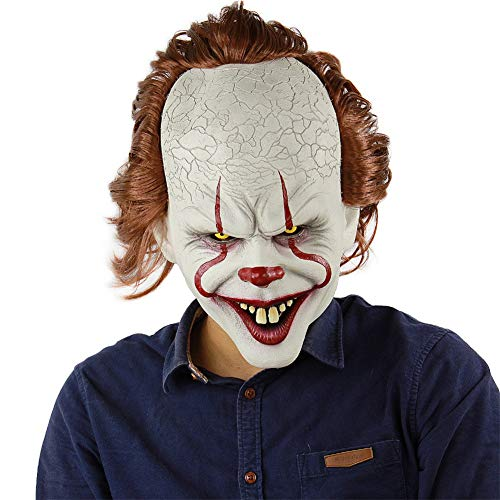 Secologo Mask Pennywise Horror Clown Joker Mask Clown Mask Halloween Cosplay Costume Props