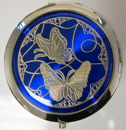 Purse Handbag Double Compact Cosmetic Mirror - Two Butterflies - Dark Blue Butterfly Compact