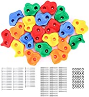 20 Pcs Rock Climbing Holds, Indoor Outdoor Playground Wooden Play Set Build Exercise Toy Accessory with with M