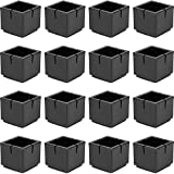 "Chair Leg Floor Protectors Chair Leg Caps 1 1/8"" to 1 3/8"" Square Table Chair Feet Protectors with Felt Pads, Color Black (16 Pack)"