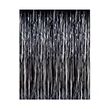 Aspire Set Of 2 Foil Fringe Shiny Curtains for Party, Prom, Birthday, Event Decorations 3 ft x 8 ft-Black-3\'x8\'