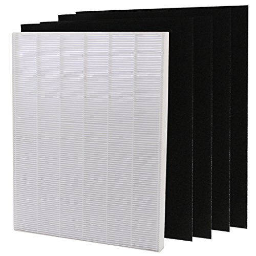 kilofly 4 + 1pc True Hepa Carbon Activated Replacement Filter Air Purifier Pack