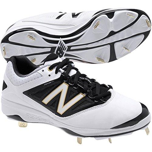 New Balance Men's L4040V3 Cleat Baseball Shoe, Black/Black, 10 2E US White/Black