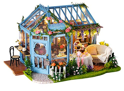 Flever Dollhouse Miniature DIY House Kit Creative Room with Furniture for Romantic Artwork Gift-Rose Garden Tea House (Rose House Tea)
