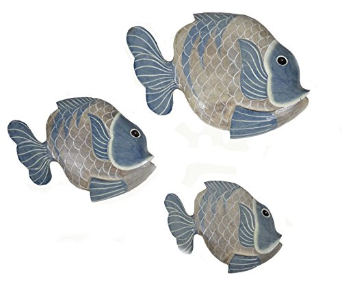 BEAUTIFUL UNIQUE SET OF 3 WOODEN FISH hanging wall art HAND CARVED STATUE SCULPTURE
