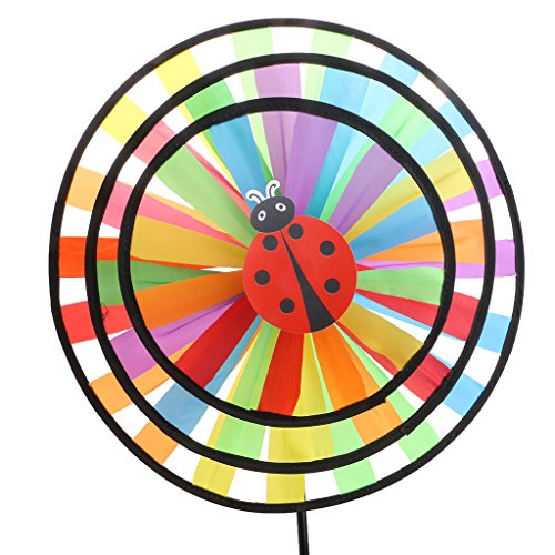 (Shaoge Colorful Rainbow Triple Wheel Wind Spinner for Outdoor Decor)