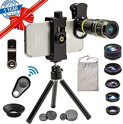 8a021afee9c9d0 Phone Camera Lens, SEVENKA 6 in 1 Cell Phone Lens Kit with 18X Telescope  Lens