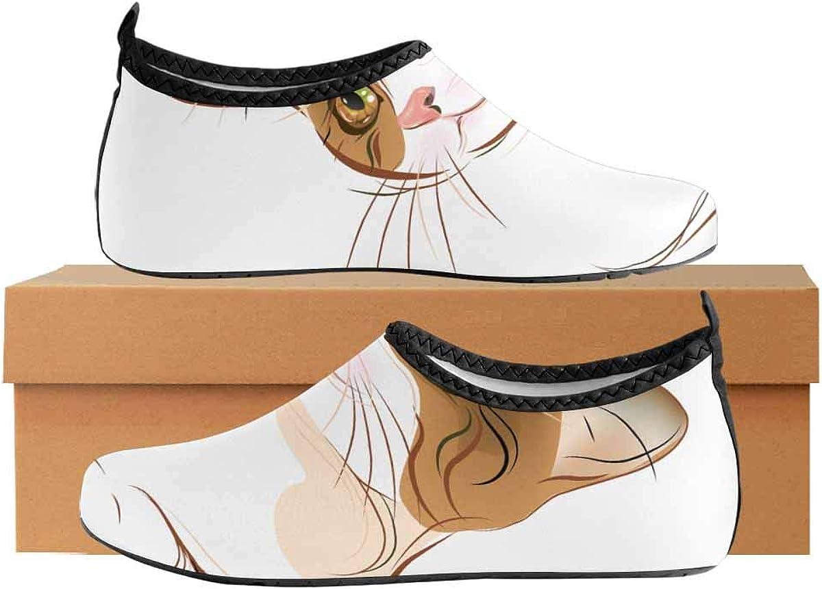 INTERESTPRINT Mens Outdoor Beach Swimming Aqua Socks Tabby Cat Portrait Quick Dry Barefoot Water Shoes