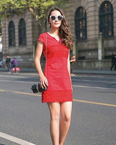 Minetom Vestido de Mujer Atractivo Cordon V Profunda Cuello Sin Mangas Nuevo del Verano Mini Dress de Partido Rojo