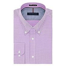 Tommy Hilfiger mens Non Iron Slim Fit Gingham Buttondown Collar Dress Shirt