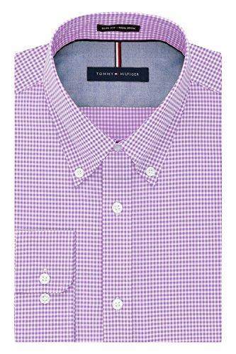 Tommy Hilfiger Men's Non Iron Slim Fit Gingham Buttondown Collar Dress Shirt, Iris, 16.5