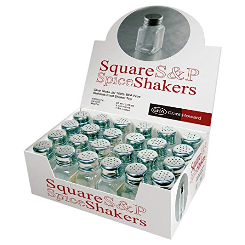 (Grant Howard 2.5 Ounce Square Salt and Pepper Shakers, Set of 24)