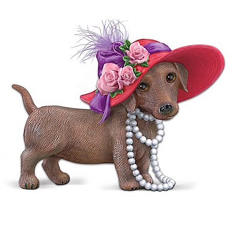 Red Hot Mama Dachshund Figurine With Oversized Hat And Attitude by The Hamilton Collection