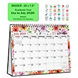Desktop Calendar 2019-2020 Academic Year (10x7.5 inch, Floral) Use Now to July 2020, Gorgeous Monthly Designs, Premium Paper, Double-Sided, Back to School Standing Tent Stand Up Table Calendar