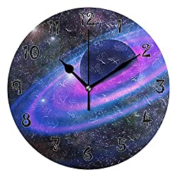Dozili Moon Butterfly Wooden Round Wall Clock Arabic Numerals Design Non Ticking Wall Clock Large for Bedrooms,Living Room,Bathroom