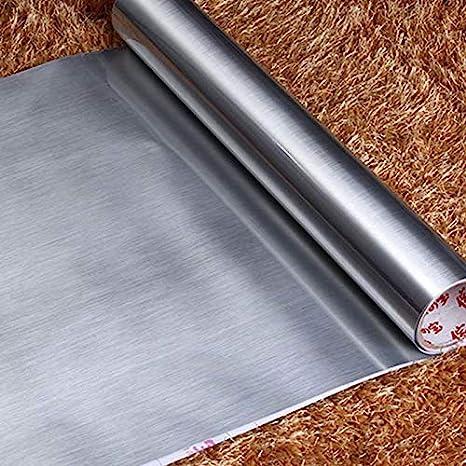 KYKDY Cocina PVC Papel pintado autoadhesivo Plata Acero ...