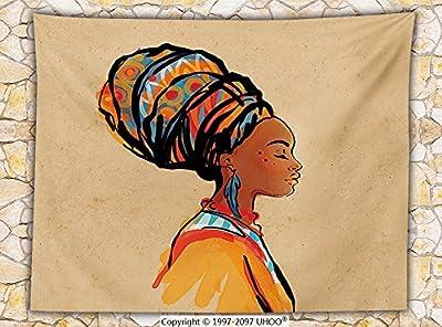 Afro Decor Fleece Throw Blanket Ethnic Woman with Exotic Feather Earring and Scarf Zulu Hippie Artwork Throw Caramel Merigold