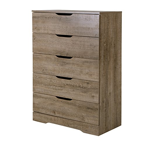 South Shore Trinity Collection 5-Drawer Dresser, Weathered Oak with Cutout Handles