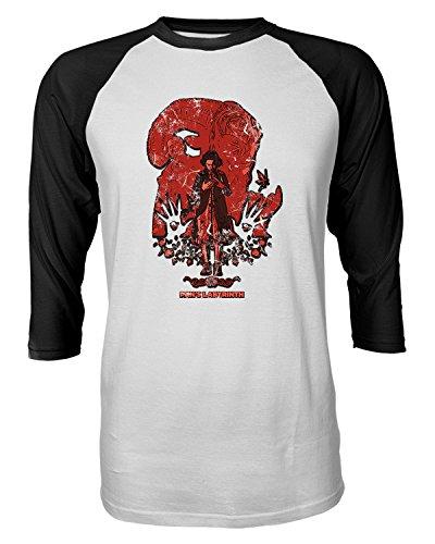 RIVEBELLA New Graphic Shirt Pans Labyrinth Novelty Tee Raglan Quarter Sleeve Men's T-Shirt (Black, L)
