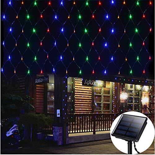 Solar Net Lights Outdoor Mesh Lights,4.9ft x 4.9ft,100 LED Icicle Lights Twinkle Lights,Dark Green Cable,8 Mode String Decorative Lights for Christmas Trees Bushes Wedding Garden Decoration-Multicolor