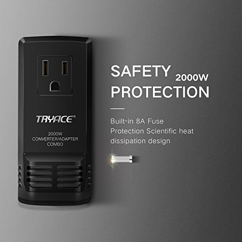 TryAce 2000W Worldwide Travel Converter and Adapter Set Down Voltage 240V to 110V Combo International Voltage Converter for Hair Dryer Phones Laptop All in One Plug Adapter Wall Charge for UK/AU/US/EU by TryAce (Image #4)