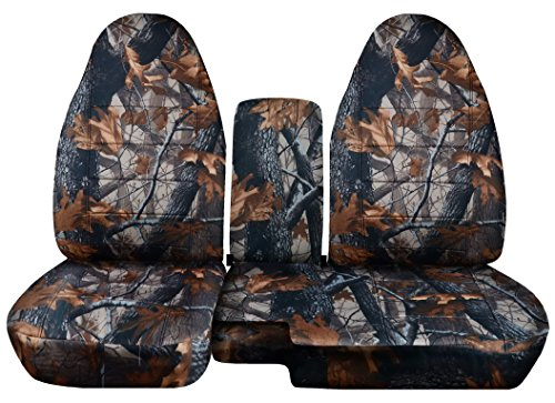 (Designcovers 2004 to 2012 Ford Ranger 60-40 Camouflage Truck Seat Covers Solid Armrest Cover Included (Dark Tree)