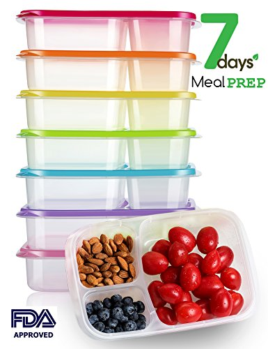 Meal Prep Containers 3 Compartment Bento Lunch Box Containers with Lids Set of 7,Plastic Food Storage Containers with Lids,BPA Free,Reusable,Microwave,Dishwasher Safe,&Portion Control