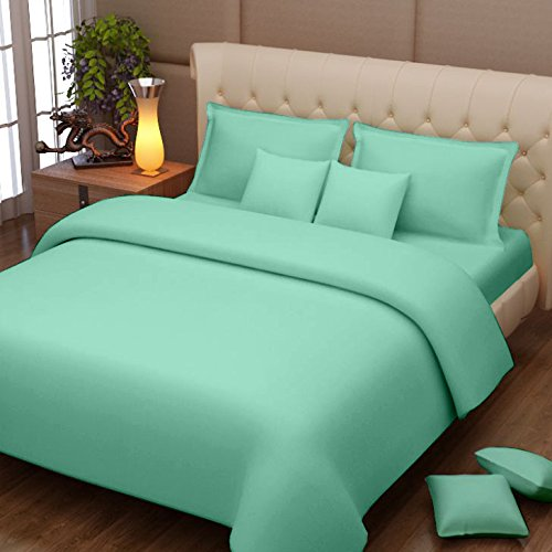 Story@Home Magic Solid Premium 100 % Cotton 152 TC Home Bedsheet with 2 Pillow Covers, Cyan