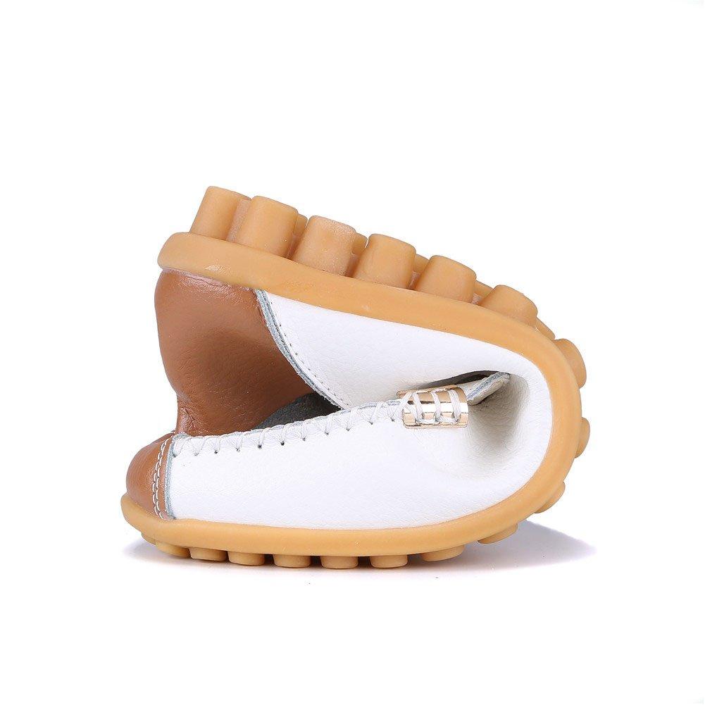 MXTGRUU Women's Leather Casual Slip-ONS Shoes B07D3M9ZWK 8.5 B(M) US White