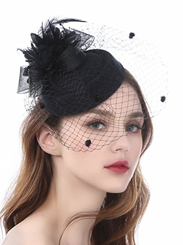 Zivyes Fascinator Hats for Women Pillbox Hat with Veil Headband and a Forked Clip Tea Party Headwear (A1-Black) -