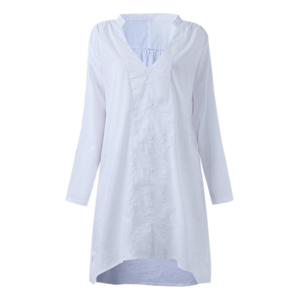OrchidAmor Women Fashion V Neck Long Sleeve Casual Loose Large Size Shirt Blouse Button Top at Amazon Womens Clothing store: