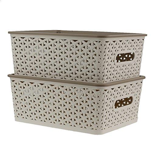 Ggbin 8 Quart Plastic Woven Storage Basket with Lid in Khaki, Set of 2