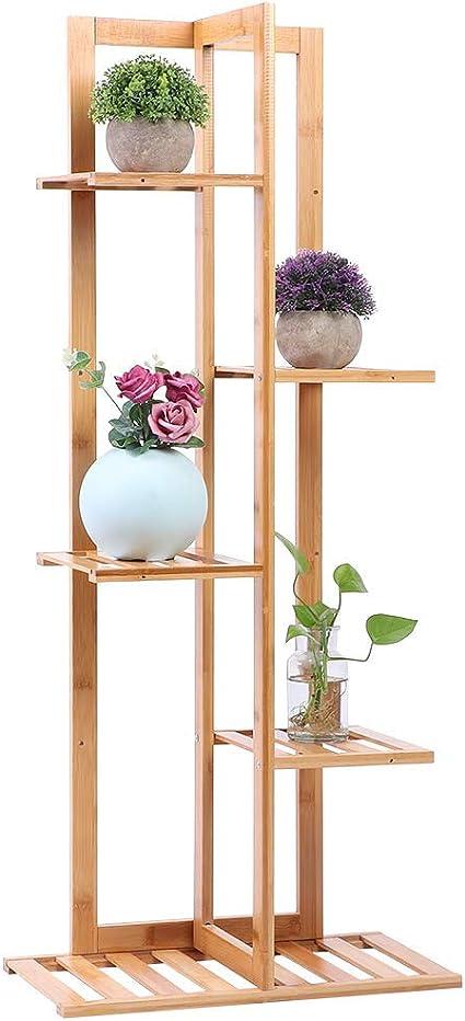 FTVOGUE Estantería para Macetas Flores de Bambú, Soporte de Plantas Alto con 6 Estantes 45x22x103 cm